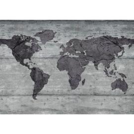 Fotobehang 1646 wereldkaart landkaart grijs