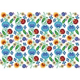 Fotobehang poster 2301 bloemen kunst rood blauw groen