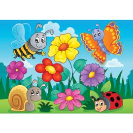 Fotobehang poster 4529 kinderkamer bloemen insecten