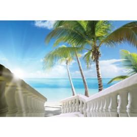 Fotobehang poster 1571 trap met pilaren naar strand