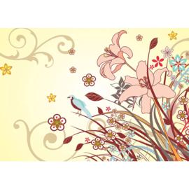 Fotobehang poster 2229 bloemen roze