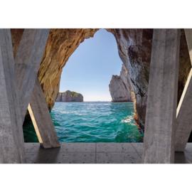 Fotobehang poster 2295 uitzicht op zee door rotsen
