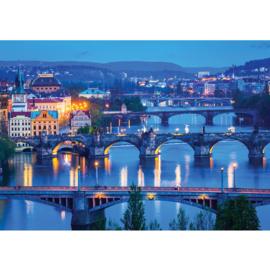 Fotobehang 1764 bruggen huizen rivier