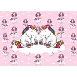 Fotobehang poster 4471 kinderkamer unicorn roze