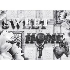 Fotobehang poster 1782 hout grijs sweet home