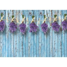 Fotobehang poster 1843 planken hout blauw bloemen lavendel