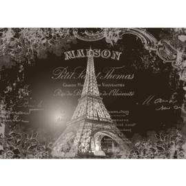 Fotobehang 1367 eiffeltoren Frankrijk Parijs tekst zwart wit