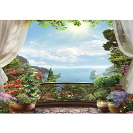 Fotobehang poster 4538 balkon uitzicht baai