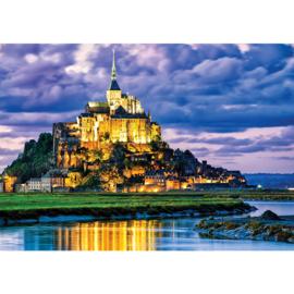 Fotobehang poster 1839 kasteel dorp landschap nacht lucht wolken blauw