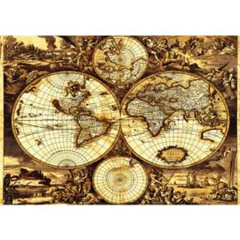 Fotobehang 1793 wereldkaart geografie landkaart vintage