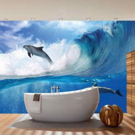 Fotobehang poster 0531 dieren dolfijnen golven water