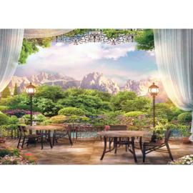 Fotobehang poster 4536 uitzicht bergen bloemen
