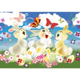 Fotobehang poster 2572 kinderkamer konijn pasen