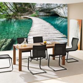 Fotobehang poster 0268 houten loopbrug romantisch steiger planken