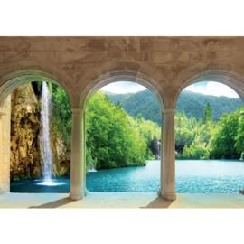 Fotobehang poster 1789 water waterval natuur planten bos zuilen