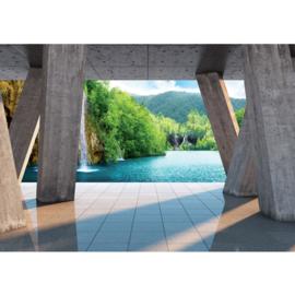 Fotobehang poster 1297 zuilen uitzicht op waterval