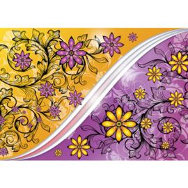 Fotrobehang 2110 bloemen geel paars