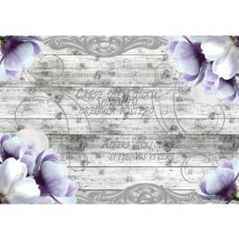 Fotobehang poster 2011 hout grijs bloemen paars