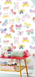 Eijffinger Rice 359150 vlinders pastel wit
