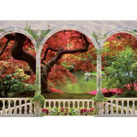 Fotobehang poster 2086 uitzicht van terras met bogen op bos en meer