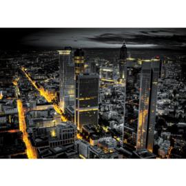Fotobehang 0948 skyline zwart geel lichtjes