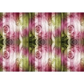 Fotobehang poster 1987 bloemen rozen roze groen hout