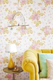 Eijffingr Rice 359040 bloem aquarel roze paars achtergrond cremewit