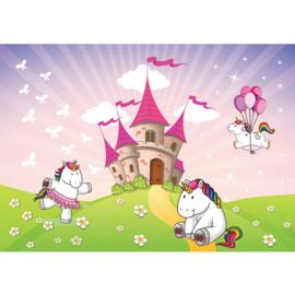 Fotobehang poster 4597 kinderkamer unicorn ballon kasteel