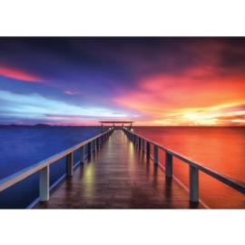 Fotobehang poster 0992 uitzicht strand houten steiger zonsondergang