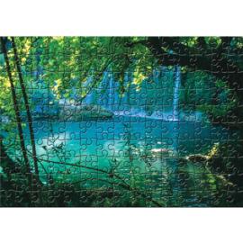Fotobehang poster 3244 puzzel blauw waterval meer boom