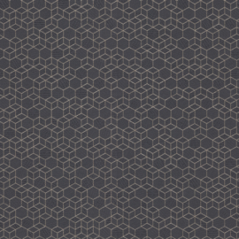 Highlands 550375 hexagon zeshoek blauw goud patroon