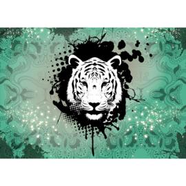 Fotobehang poster 1628 tijger dier zwart wit groen patroon