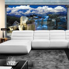 Fotobehang poster 1649 waterval rotsen lucht hemel blauw