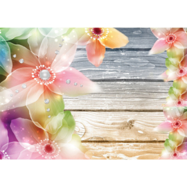 Fotobehang poster 1808 bloemen hout roze groen geel