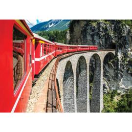 Fotobehang poster 1331 rode trein op spoor brug naar tunnel in berg