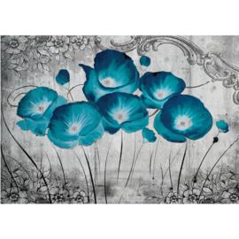 Fotobehang poster 2351 bloemen blauw klaproos schilderij