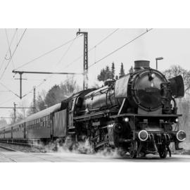Fotobehang poster 4507 stoomtrein lokomotief wagons zwart