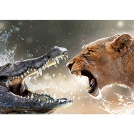 Fotobehang poster 1917 dieren leeuw krokodil roofdieren