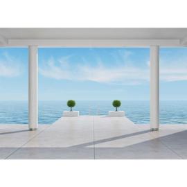 Fotobehang poster 2951 balkon zee blauwe lucht