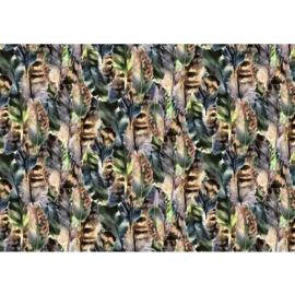 Fotobehang poster 3547 veren veer groen