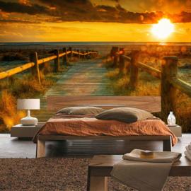 Fotobehang poster 0064 natuur zonsondergang steiger strand duinen houten planken
