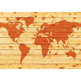 Fotobehang poster 2213 wereldkaart hout oranje landkaart