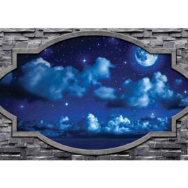 Fotobehang poster 1853 hemel wolken lucht blauw stenen muur doorkijk