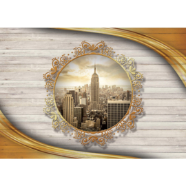 Fotobehang 3210 USA New York hout goud ornament