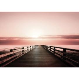 Fotobehang poster 1666 zonsondergang water zee lucht steiger