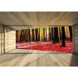 Fotobehang poster 2158 raam kamer uitzicht bos bomen