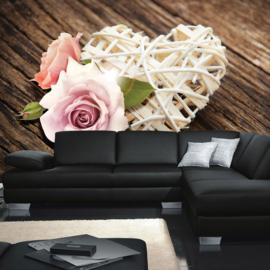 Fotobehang poster 1542 bloemen roos houten hart