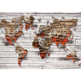 Fotobehang poster 2057 wereldkaart hout grijs bruin vuur
