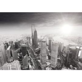 Fotobehang poster 0049 skyline shang hai blauw tower