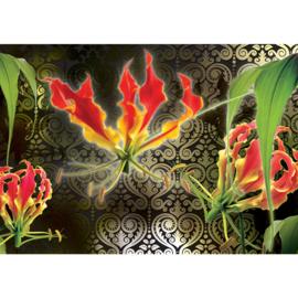 Fotobehang poster 2105 bloemen orchidee ornament zwart